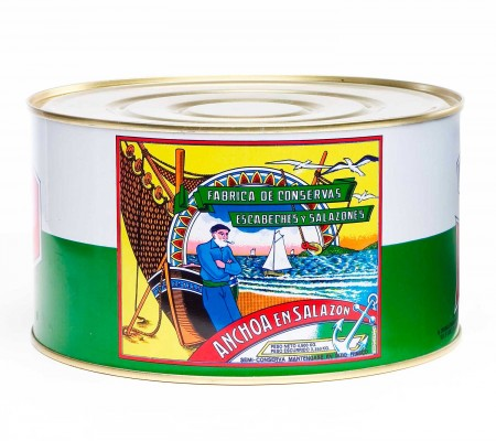 Salted anchovies in tin 5 kgs.